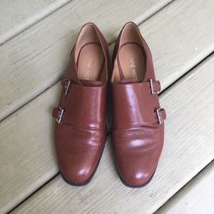 Nine West | Cognac Genuine Leather Buckle Loafers